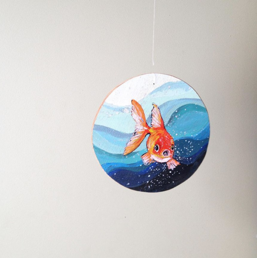 hanging goldfish - hanger - hand painted - acrylic on cedar wood