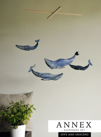 Dive and Descend - Blue Whale mobile - handmade, hand crafted, unique ocean lovers mobile