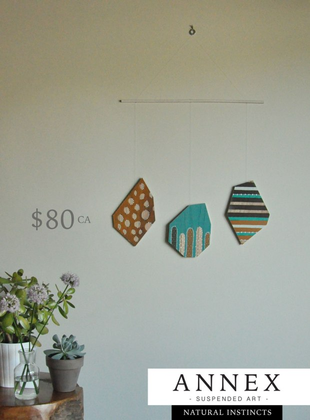 Hand painted wall hanging - wood suspended art - crafted in Fernie BC Canada