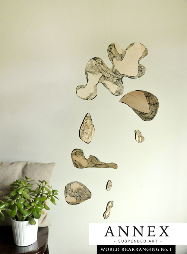 Annex Mobile - World Rearranging No. 1 - handmade wood mobile, abstract art, hanging artwork