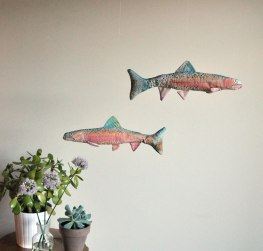 Annex Suspended - hanging art - rainbow trout, hand painted, hand made, hand crafted, made in Canada