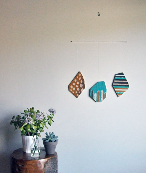Annex Suspended Wall Hanging - Geometric, abstract artwork - hand painted, crafted in Canada
