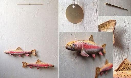 Kelty Rainbow Trout - Handmade, Hand Crafted, Fabric and Metal Mobile