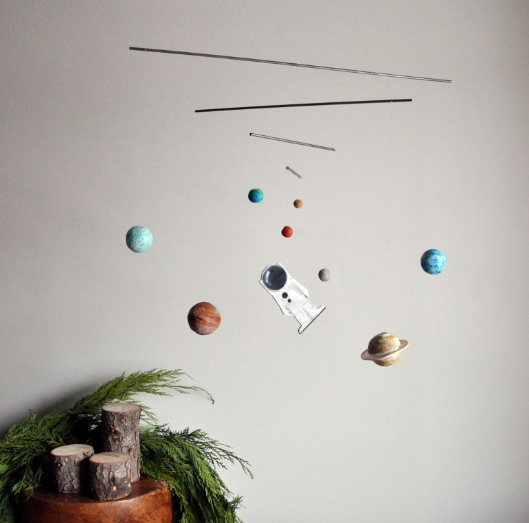Space Mobile Art - Centre of the Universe - Planets and Astronaut