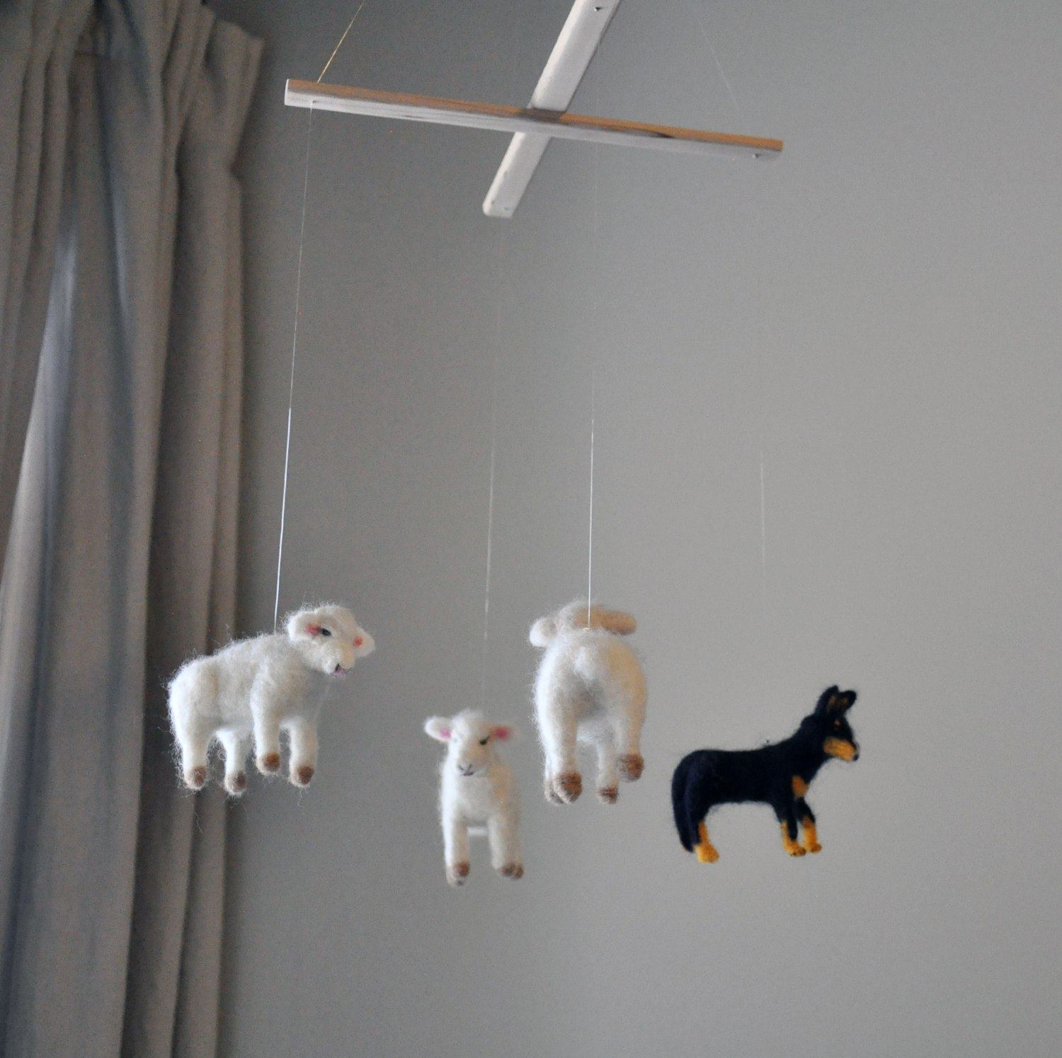 Sheep Dog Hanging Mobile - Nursery Room Neutral Art