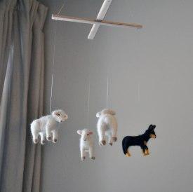 Sheep Dog Hanging Mobile - Nursery Room Neutral Art
