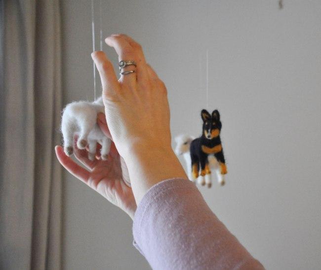 Custom Mobile Art - Needle Felted Sheep and Dog
