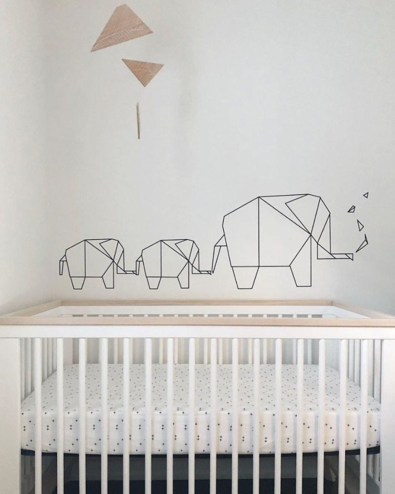 Custom Wood Geometric Neutral Baby Room Mobile - Fernie White Line Art in Toronto Ontario