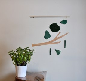 Annex Suspended Mobile - Tree Branch - Keep Strong - Wood Mobile Art