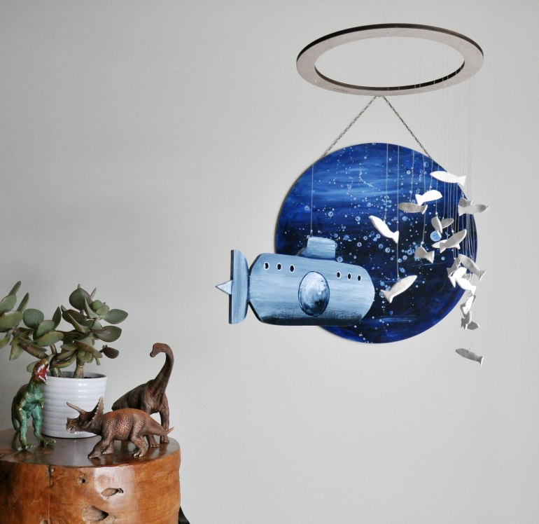 Submarine and fish nursery mobile by Annex Suspended - with hanging wall circle art