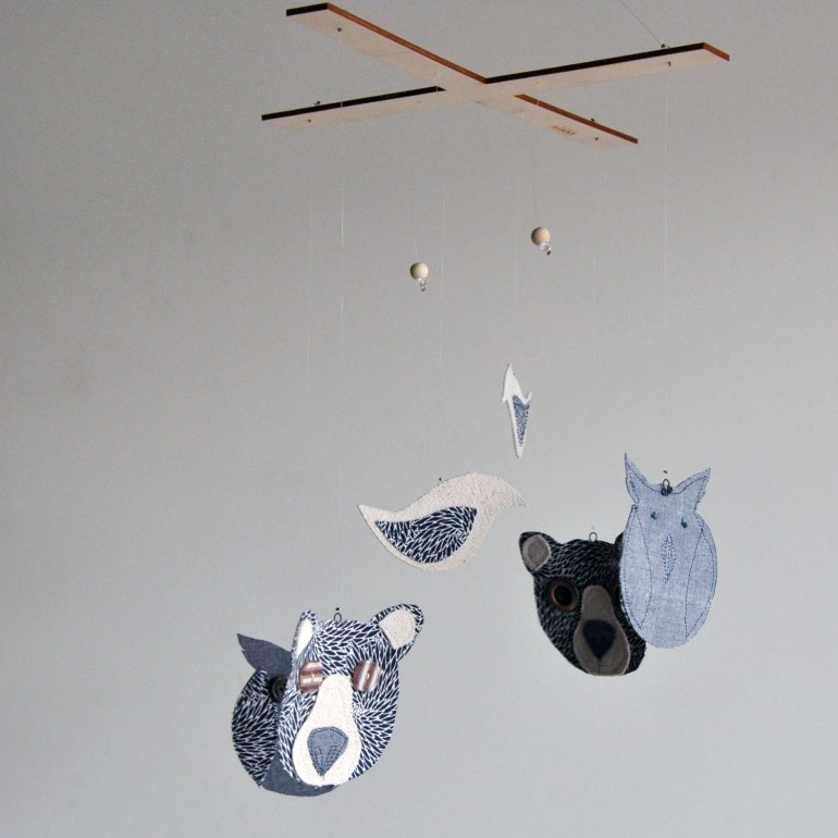 Annex Suspended Art - Fabric Bears and Birds Mobile