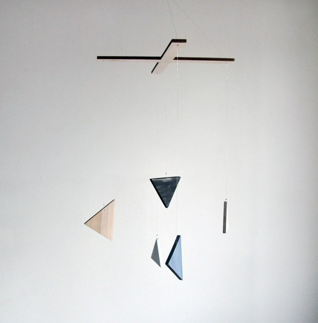 Annex Suspended Art - Neutral Geometric Triangle Wood Mobile