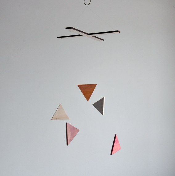 Annex Suspended Art - Geometric Triangle Wood Mobile