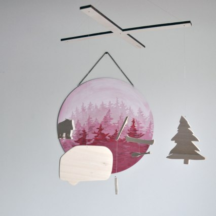 Into The Woods neutral camping and fishing mobiles - hand crafted in Fernie BC Canada
