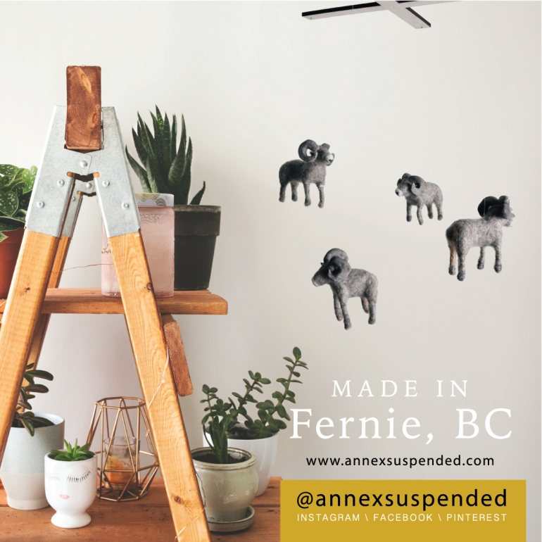 annex suspended art - hand crafted in fernie bc canada on social media