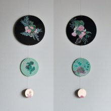 Annex Suspended Art - Floral Circle Mobile Wall Hanging