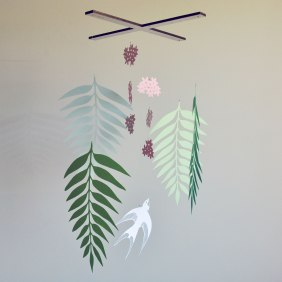 Annex suspended Art - Handmade Mobiles in Canada - Swallow Bird, Flowers and Fern Paper Mobile