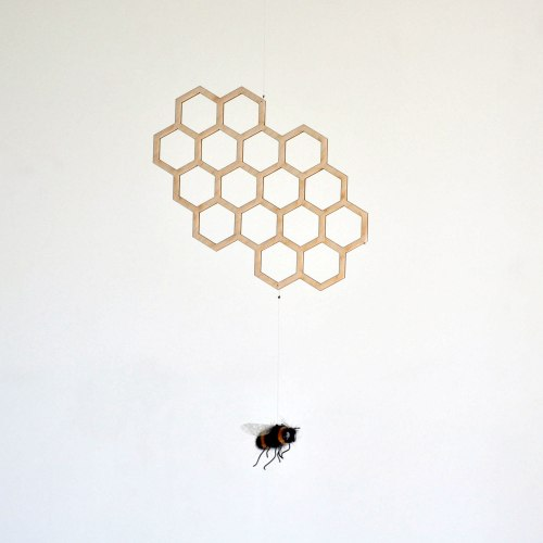 Queen Bee - Bee and honeycomb hanging decor - handmade mobiles