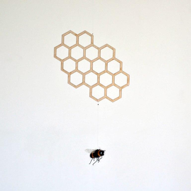 Queen Bee - Bee and honeycomb hanging decor - handmade mobiles