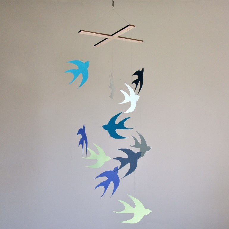 Flock of Swallows Paper Bird Mobile in Blue