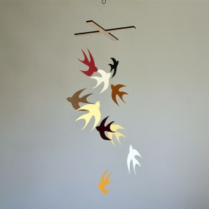 Flock of Swallows - A Paper Bird Mobile in Warm colours