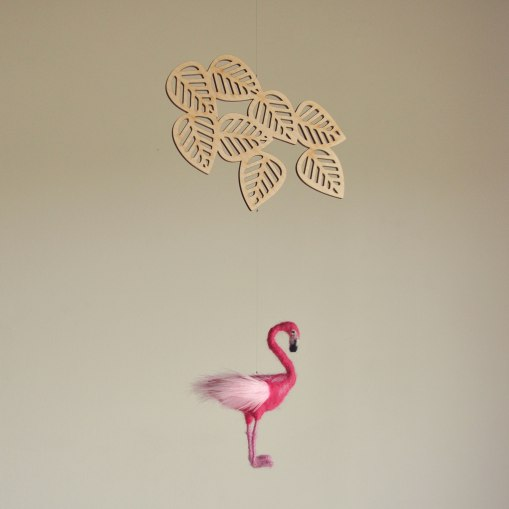 Annex Suspended Art - Handmade Mobiles Hanging Decor - Flamingo and Tropical Leaves Mobile