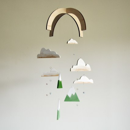 Mountains and Rain Clouds Mobile - Handmade and hand painted by Annex