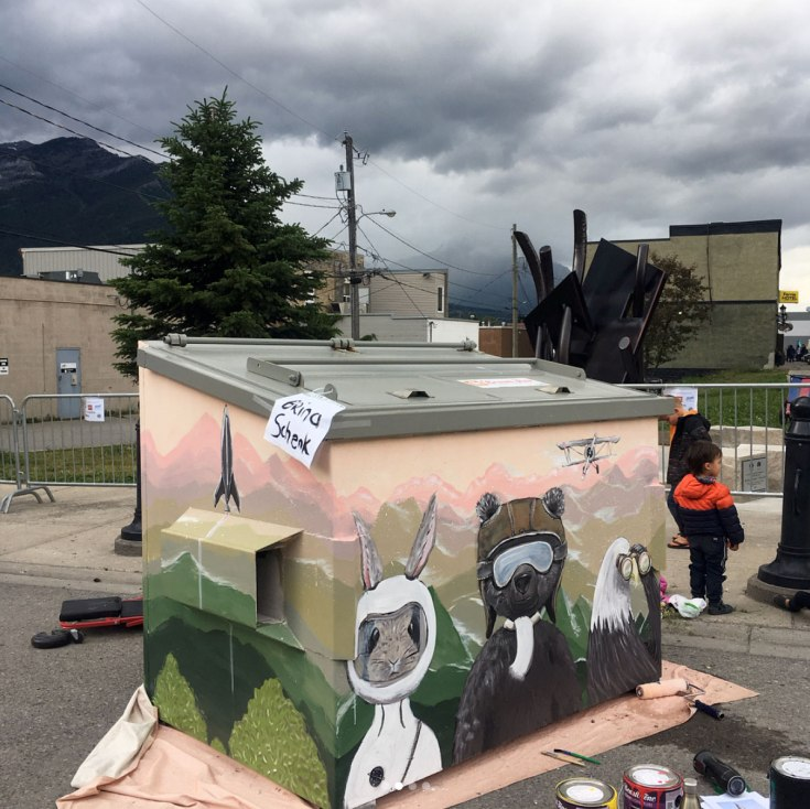 Fernie Dumpster Painting Event - Brina's Painting for City of Fernie