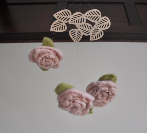 Floral Mobile - Dusty Rose Needle Felted Suspended Art by Annex in Fernie BC