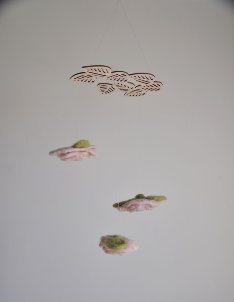 Floral Pitch by Annex Suspended - Flower Art Hanging Decor, Dusty Rose Flowers