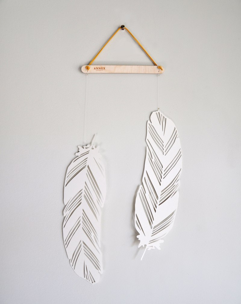Two Feathers, Feather Wall Hanging with Mustard Colour Cord by Annex Suspended