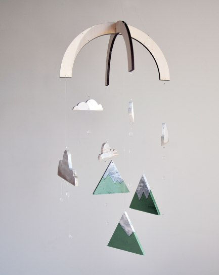 Valley Mountains Mobile - Wood Hand Painted mobile by Annex Suspended in Fernie BC