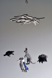 Custom Handmade Mobile of Australian Animals - Kangaroo, Echidna, Platypus, Kookaburra needle felted animals