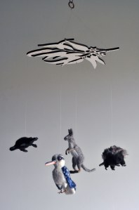 Custom Handmade Mobile of Australian Animals - Kangaroo, Echidna, Platypus, Kookaburra needle felted animals