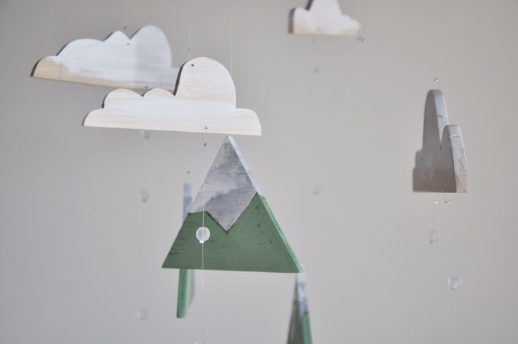 Valley Mountains Mobile - Mountains and Rain Clouds handmade into a beautiful mobile