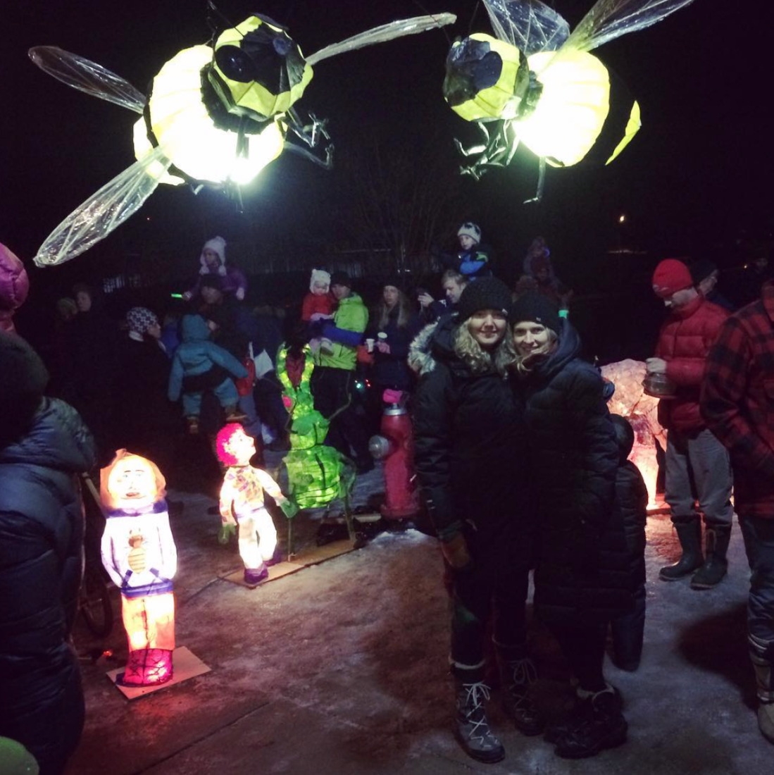 Annex Suspended' Michelle and Brina's art installation at Fernie's Festival of Lights or Lantern Festival 2018
