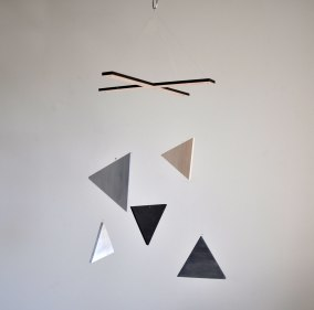 Happening Mobile - Wood Painted Triangles by Annex Suspended - Nursery Room Decor