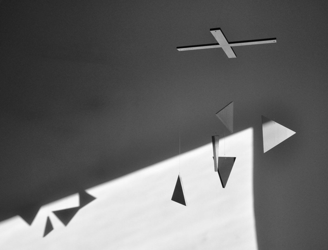 Happening by Annex Suspended - in Black and White Photography - triangle wood mobile