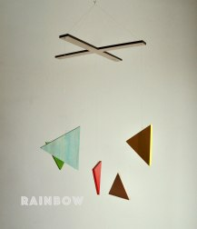 "Happening Mobile ""Rainbow"" of Blue, Red, Green, Yellow and Raw Wood."