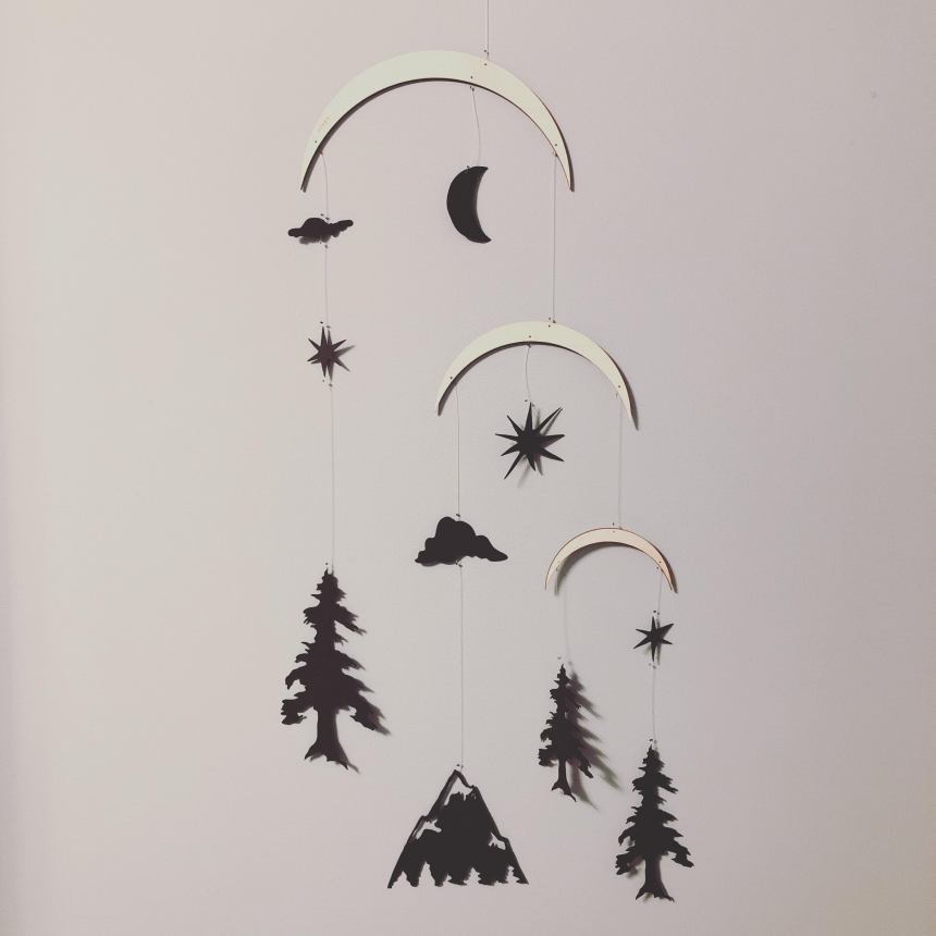 Annex Suspended Rocky Mountains in black paper mobile hanging decor for nursery and baby room