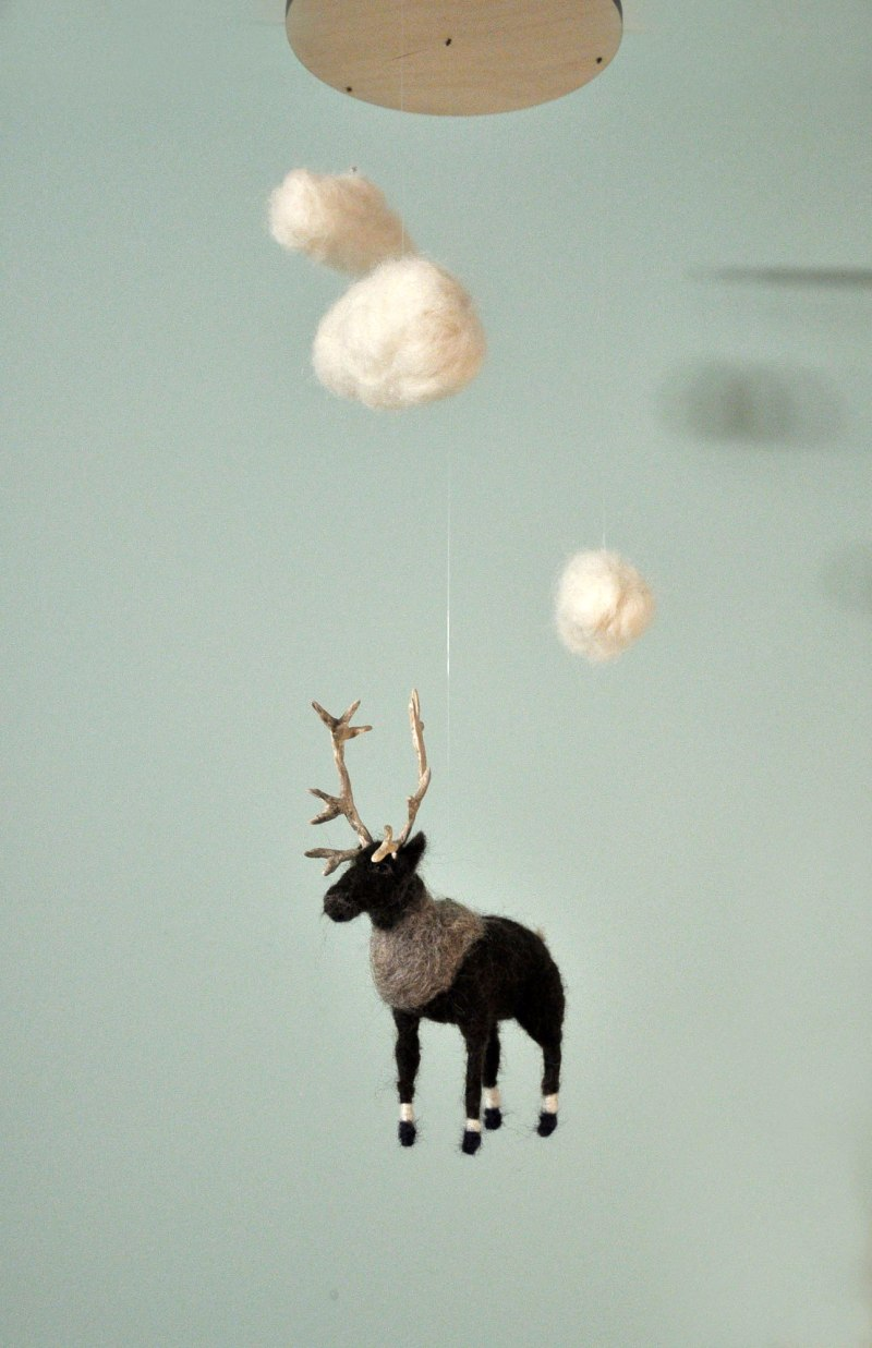 Dreaming of Caribou mobile by Annex Suspended, handmade mobiles in fernie bc canada
